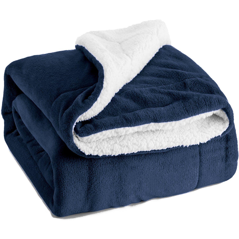 Bedsure sherpa throw blanket navy blue