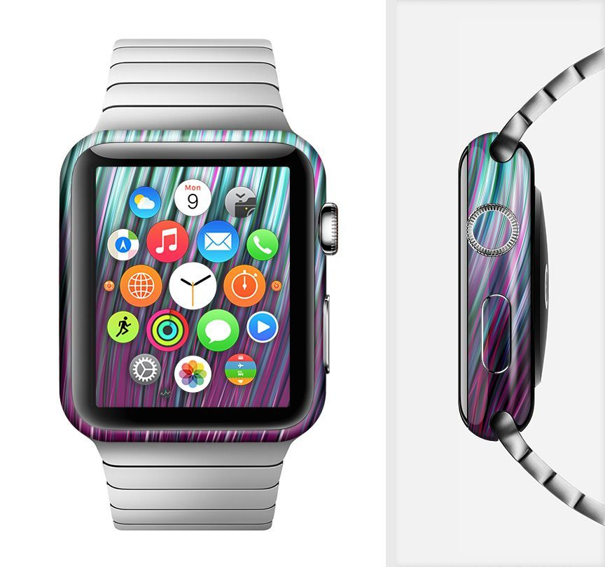 The Pink & Blue Vector Swirly HD Strands Full-Body Skin Set for the Apple Watch