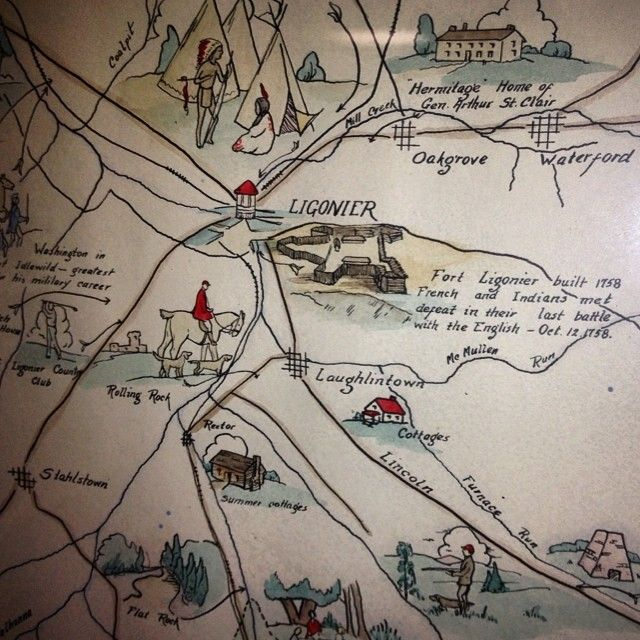 Close Up Of A Hand Colored Map Of Ligonier Pa Created By Elizabeth Patton Beggs In 1934 You Can Find Thi Pennsylvania History Westmoreland County Ligonier Pa