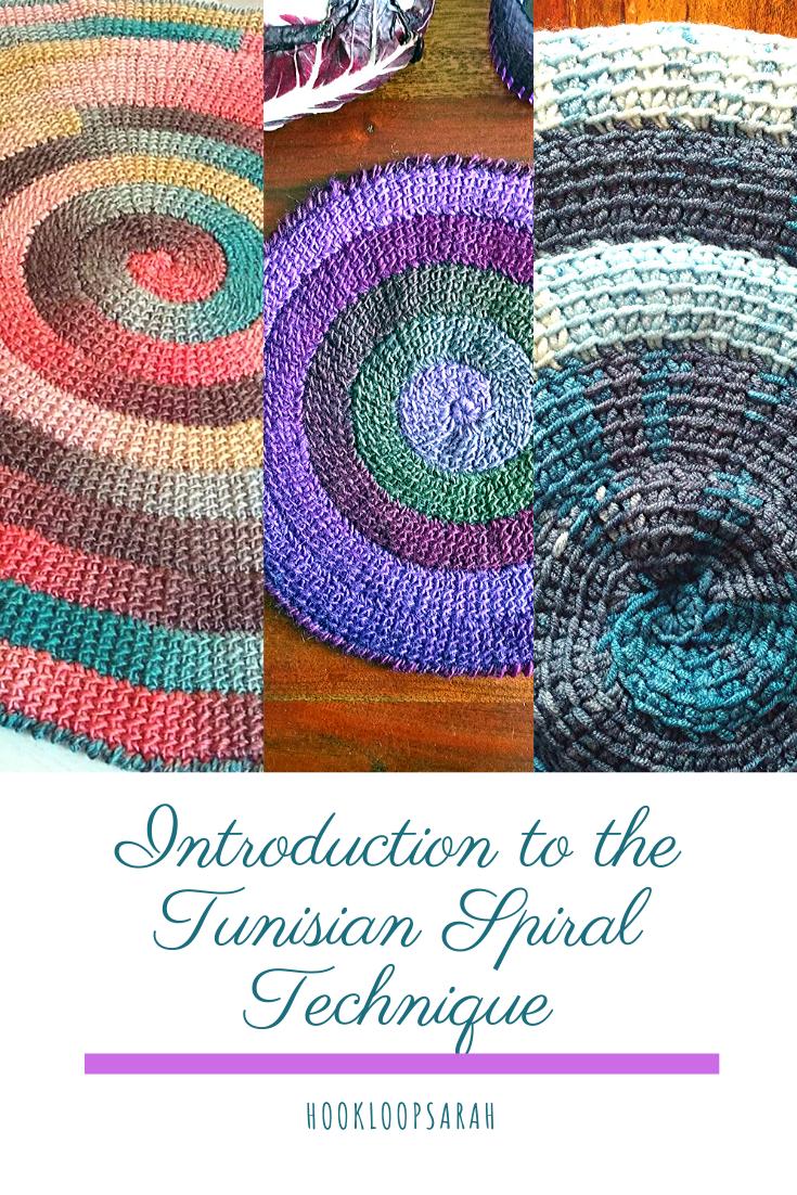 Tunisian Crochet Spiral technique in rounds