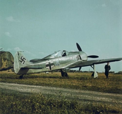 """Focke-Wulf Fw 190 A-2 """"blaue 4"""" was photographed while serving with Jagdfliegerschule 2 or 4"""
