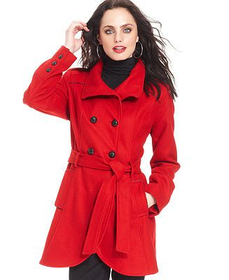 GUESS Coat, Wool-Blend Cutaway Pea Coat - Coats - Women - Macy's ...