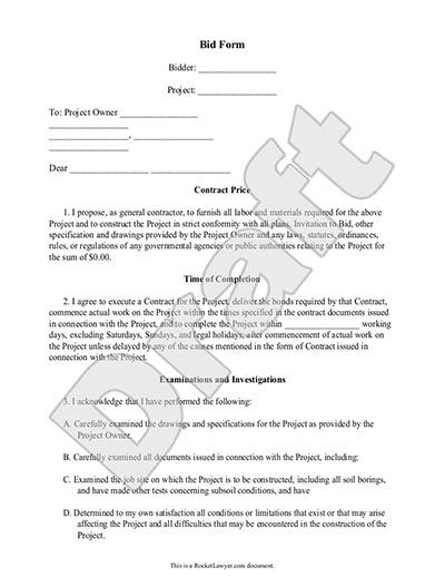 Printable Sample Construction Proposal Template Form | Real Estate