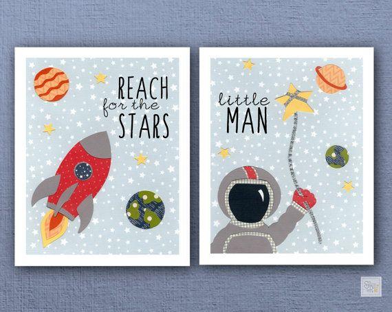 Space Boy Nursery Art Prints, Red, Blue, Yellow Space