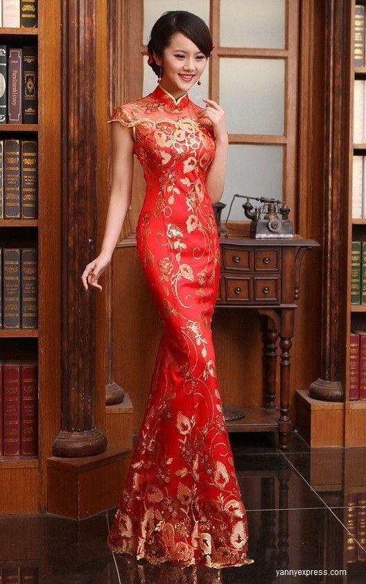 a767e7d2bb9 Chinese Bridal Qipao Illusion Beaded Cheongsam Evening Gown Fishtail ...