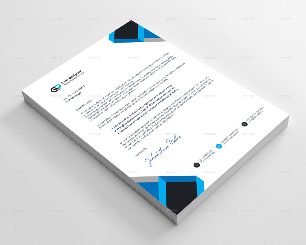 dark blue corporate personal letterhead templates by canva