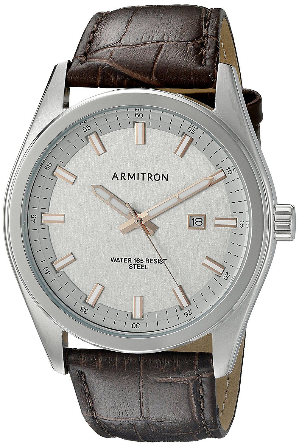 Armitron Men's 20/5087GYSVBN Date Function Dial Brown Croco-Grain Leather Strap Watch *** Read more reviews of the watch by visiting the link on the image.
