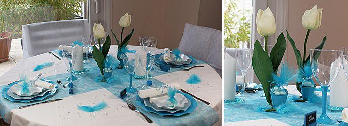deco de table bleu turquoise et blanc i table de c r monie. Black Bedroom Furniture Sets. Home Design Ideas