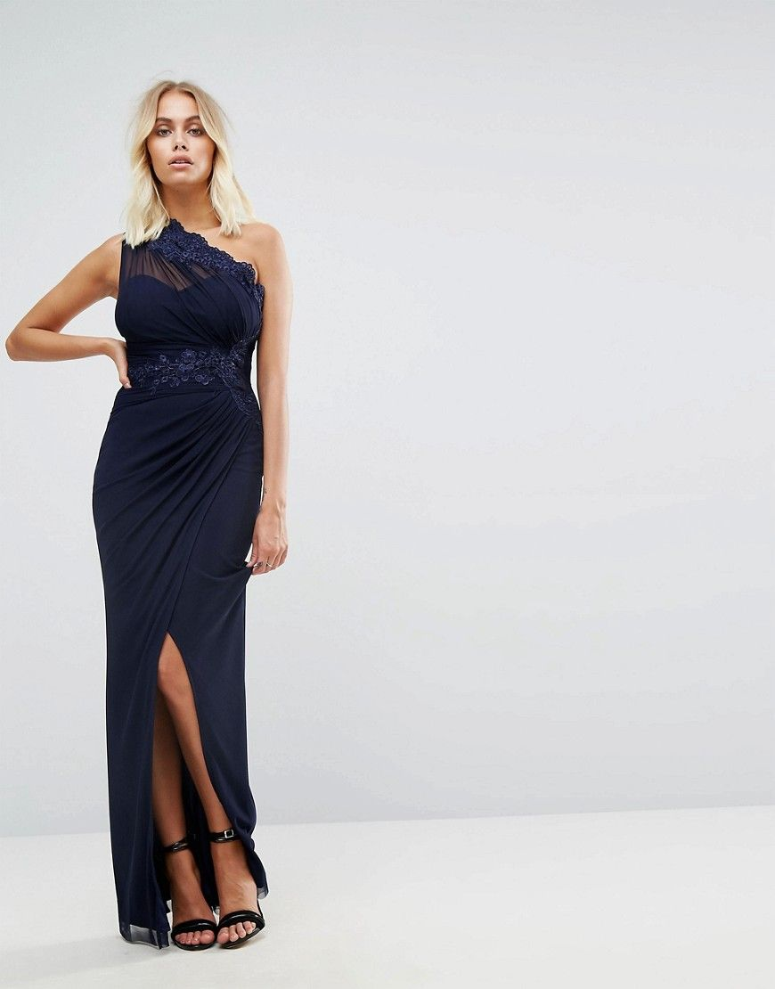 Lipsy one shoulder maxi dress with sheer hem navy products