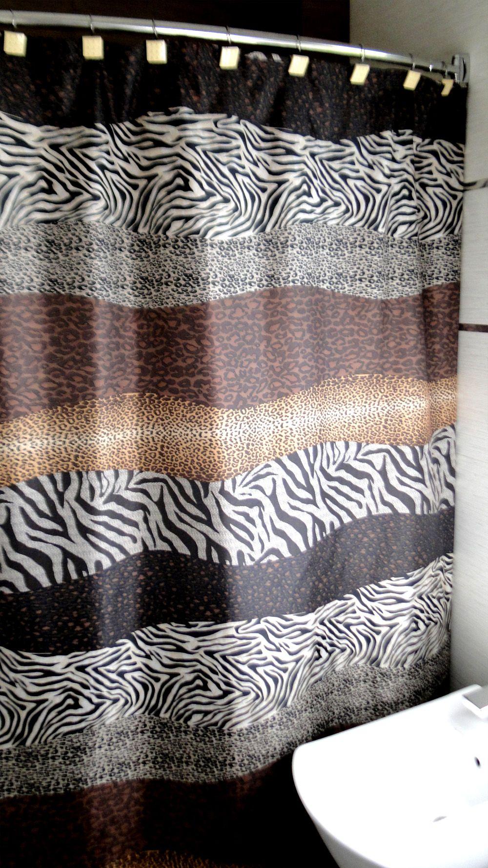 Modelo Nairobi Natural Cortina De Baño Estampada De Teflón Medida 1,80 X  1,80