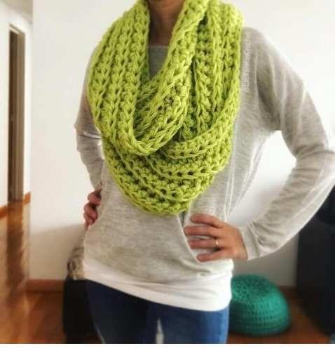 Cuello   Maxi Bufanda Tejida A Crochet  ae56c4921c6
