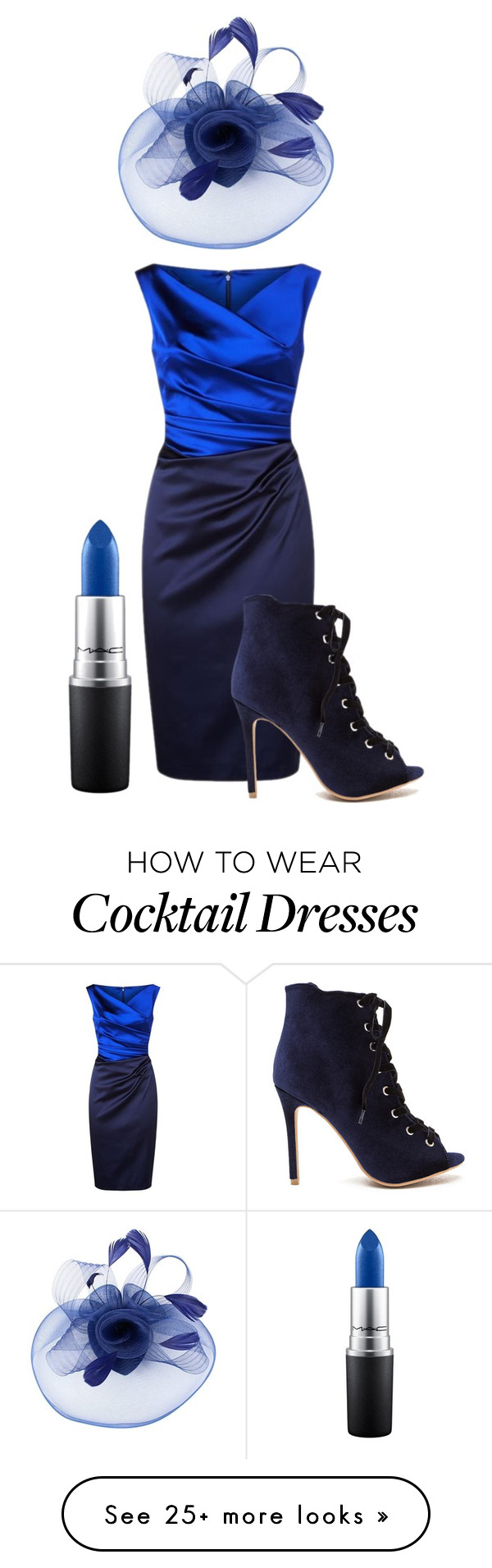 """""""Navy Chic"""" by honeychique on Polyvore featuring Talbot Runhof and MAC Cosmetics"""