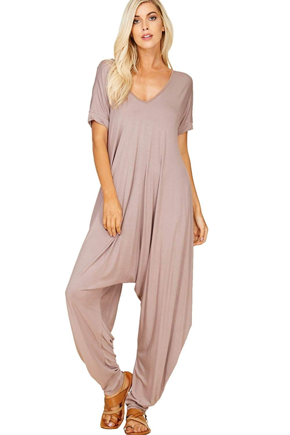 9e7a77aae3c AmazonSmile  Annabelle Women s Comfy Casual Short Sleeves Harem Long Pants  Jumpsuits with Pockets  Clothing