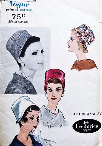 FAB 50s VOGUE 9923 John Frederics Pillbox Cloche Hats Vintage Sewing Millinery Pattern UNCUT