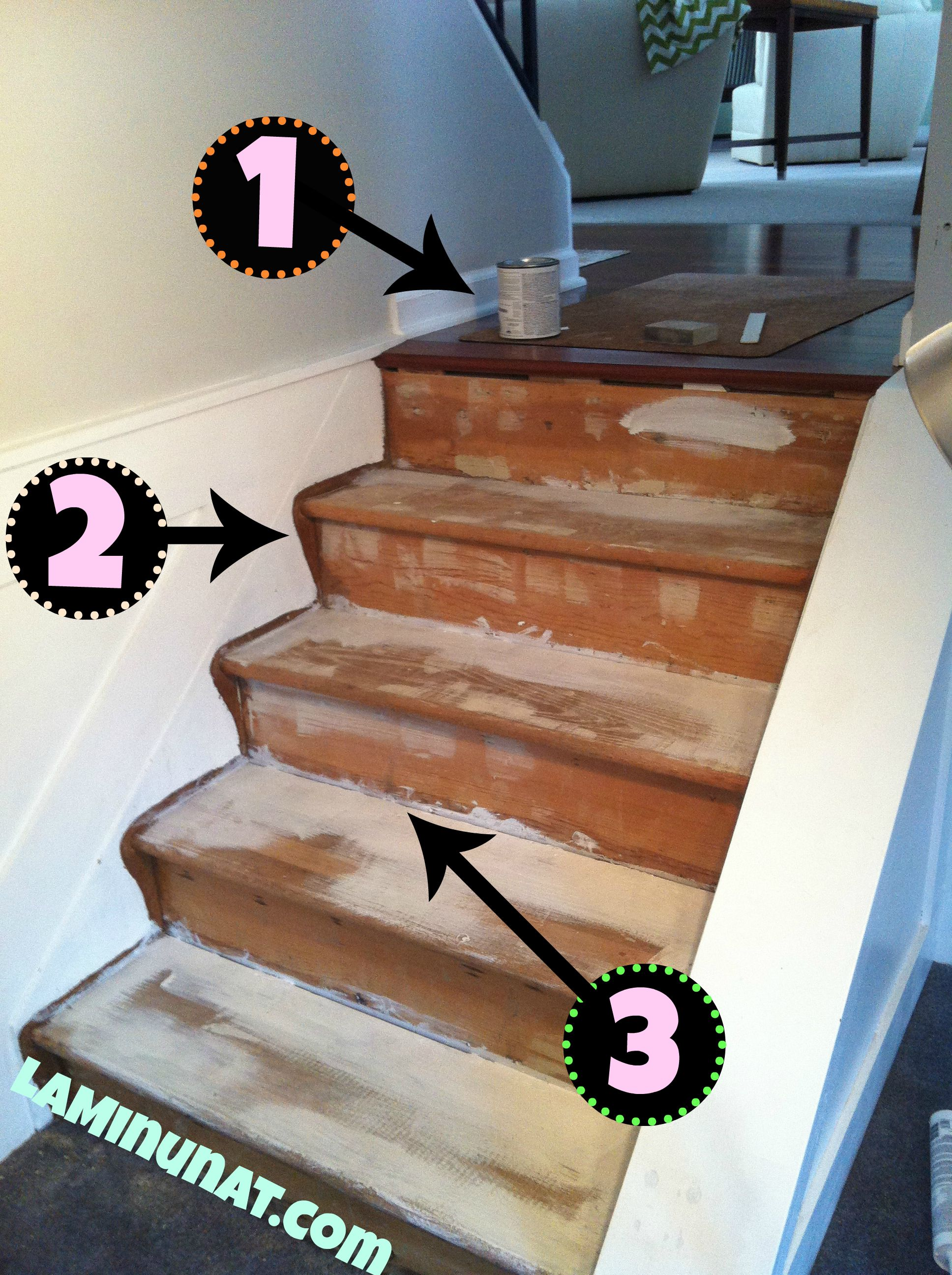 Stair Re Do Revamp Diy From Carpet To Painted Clean Step Steps Stairs White  Color Yellow Chartreuse Nails Holes Filler Primer Brush Latex Riser At Home  ...