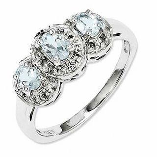 Oval Aquamarine And Diamond Accent Frame Three Stone Ring