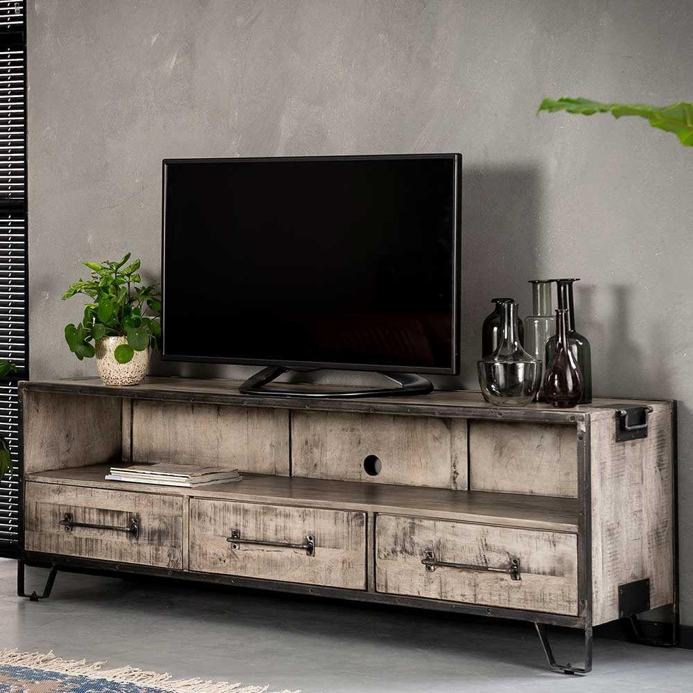 Loft Design Tv Board Langolia In Grau Mit Antik Finish 180