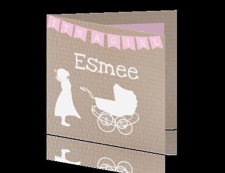 Profiel geboortekaartje silhouet meisje met kinderwagen op karton