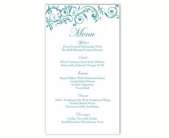 Wedding Menu Template DIY Card Editable Text Word File Instant Download Blue Temp