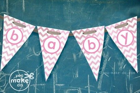 Instant download pretty pink chevron baby shower banner. When the party is over, use your banner to decorate a baby's room too!  | you make do® | #party #printables #BabyShower