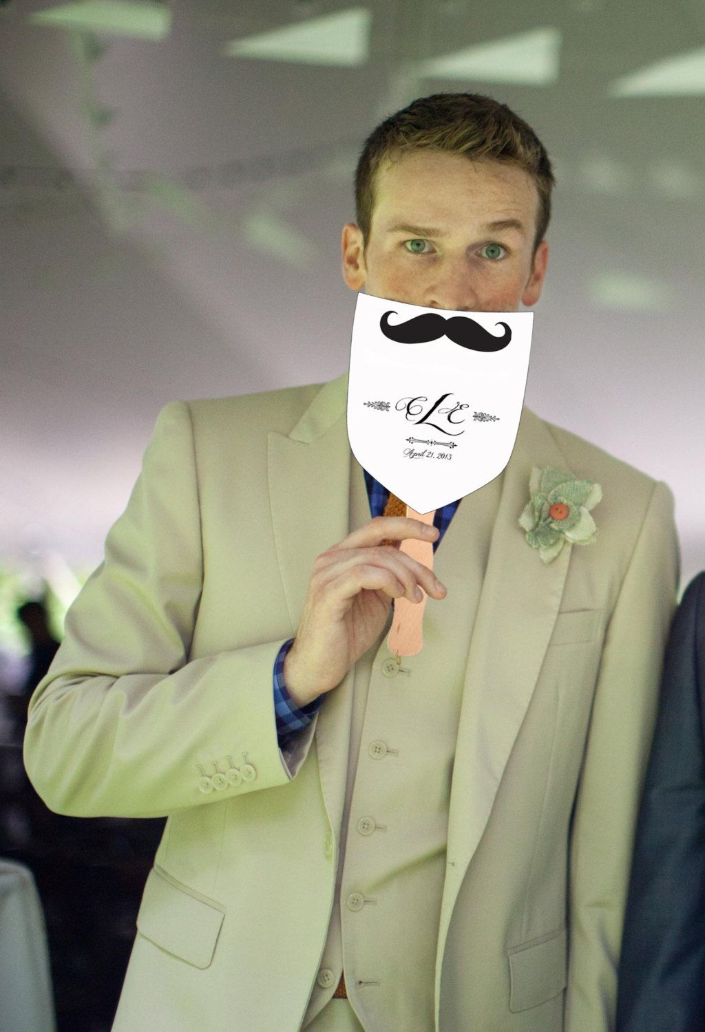 Mustache wedding program fans custom made to cool down your guests