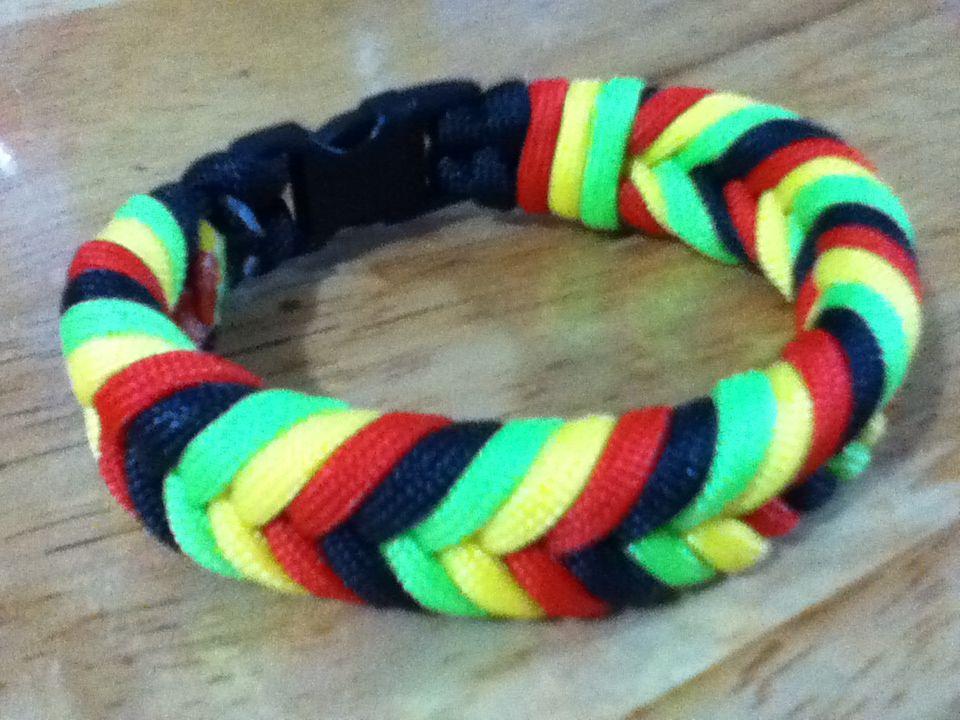 Rasta fishtail paracord bracelet
