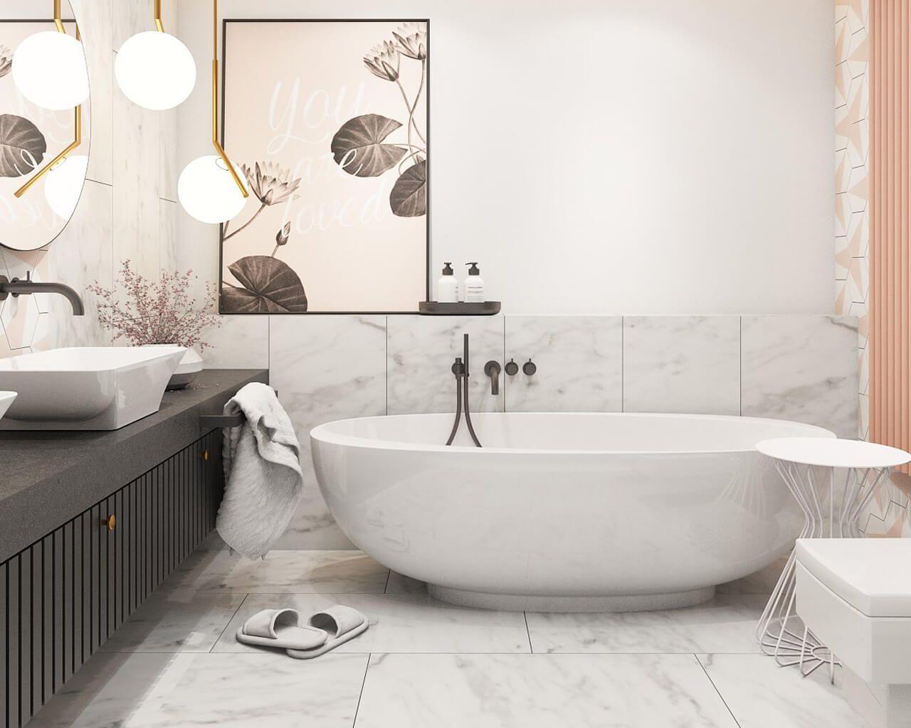 Marmurowa I Heksagonalna Elegancja W łazience Ceramika