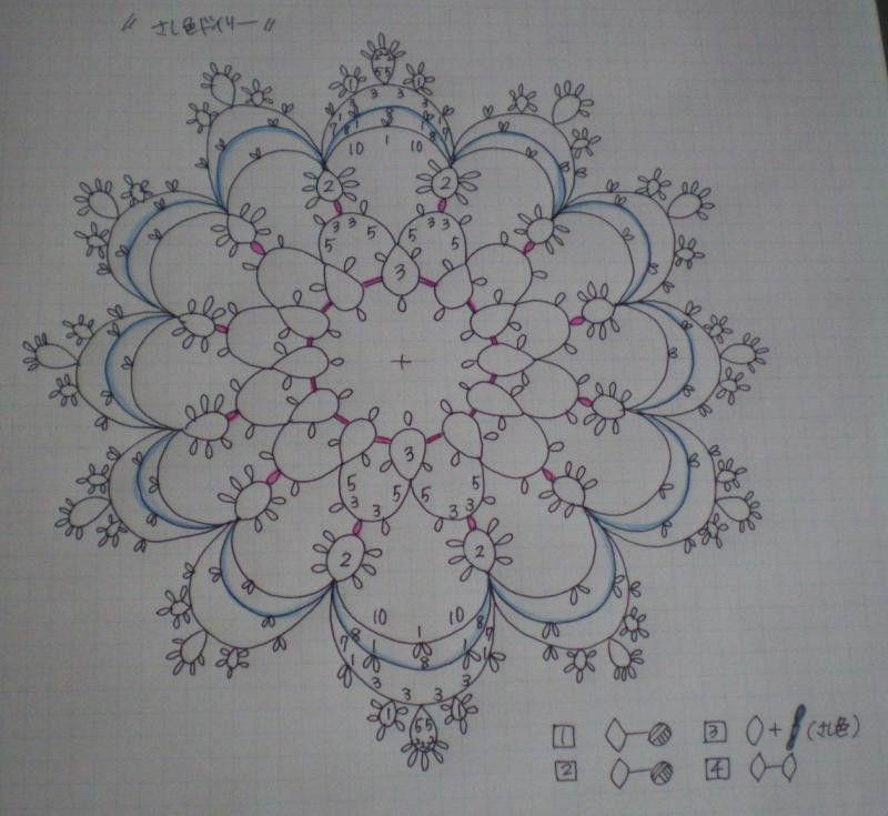タティングレース「さし色ドイリー」の編み図です♪ の画像|野乃のきまぐれHANDMADE生活♪