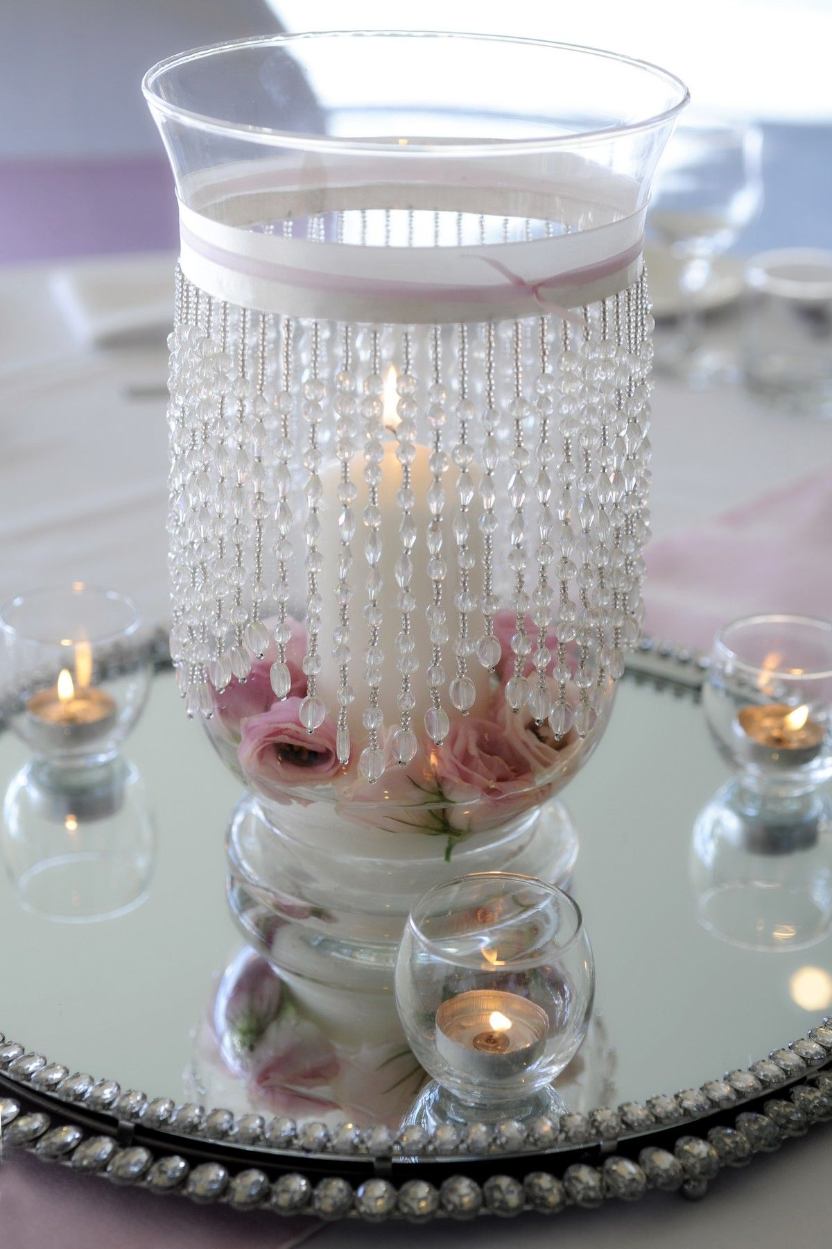 Hurricane vase wedding centerpieces pinterest