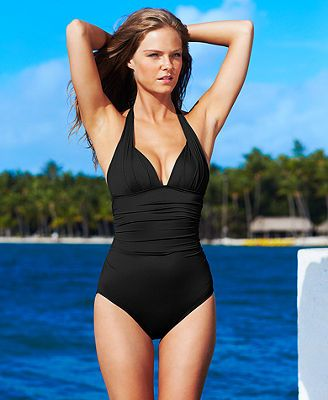 Dkny Ruched Halter One Piece Swimsuit Swimwear Women Macy S Halter One Piece Swimsuit One Piece Swimsuits