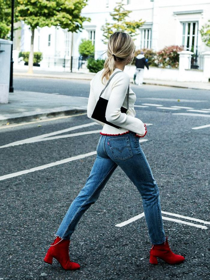 f0c4e6df5010 Red ankle boots are the surprising favourite shoe for autumn winter 2016.  These street style stars show how to style red boots for now…