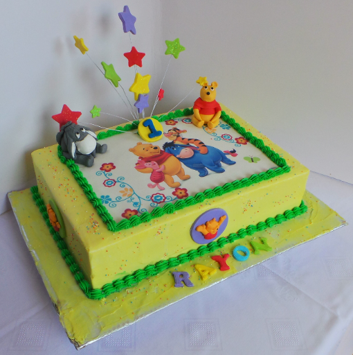 Winnie The Pooh Sheet Birthday Cake With Edible Print And Fondant