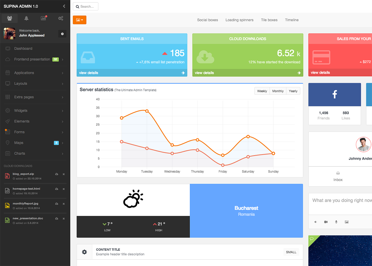 supina  bootstrap admin template avec images