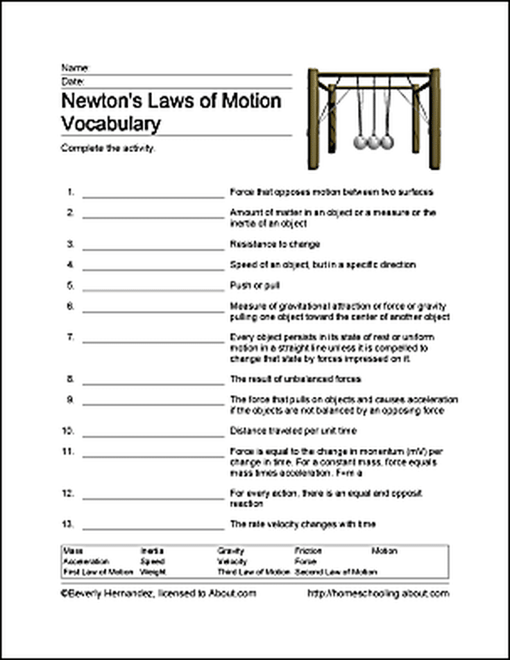 fun ways to learn about newton 39 s laws of motion word search newtons laws and free printable. Black Bedroom Furniture Sets. Home Design Ideas