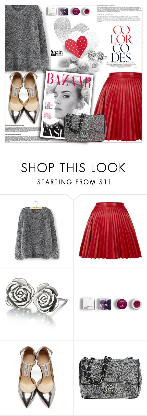 """#sheinside"" by sweta-gupta ❤ liked on Polyvore featuring Topshop, Chamilia, Korres, Jimmy Choo and Chanel"