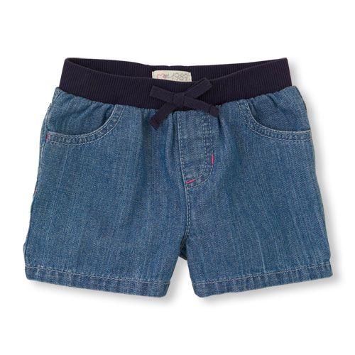 denim knit-waist shorts   US Store