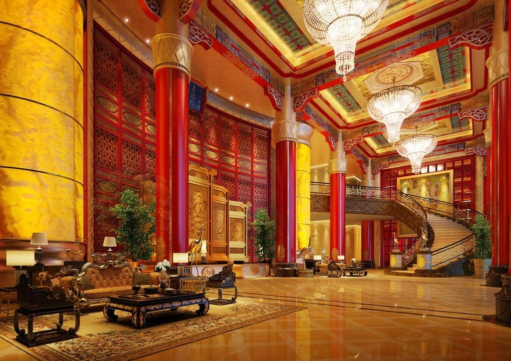 Chinese interiors chinese palace lobby hotel interior for Interior design facts