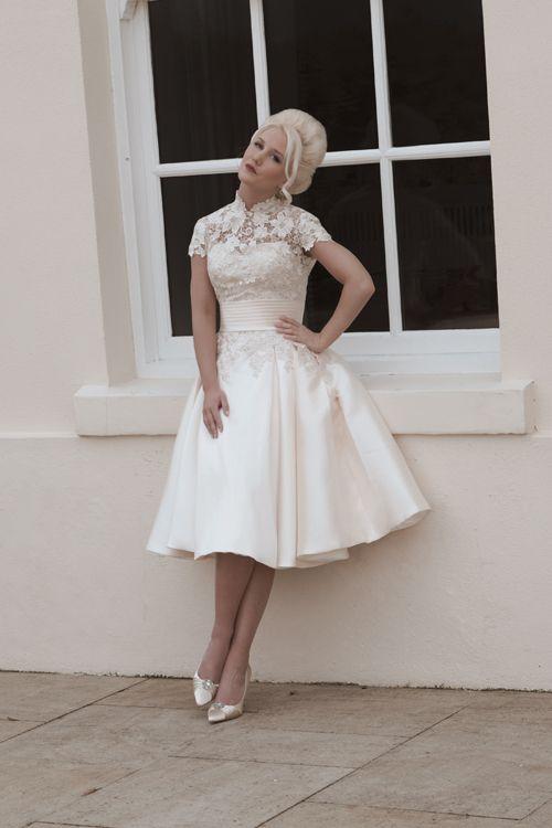 NancyGrace Kelly inspired short tea length wedding dress in Mikado ...
