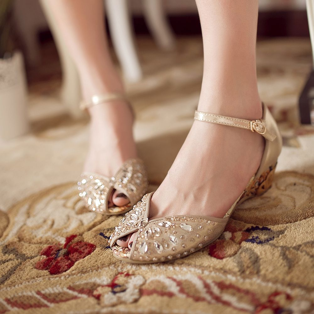 2013 rhinestone sandals female genuine leather open toe