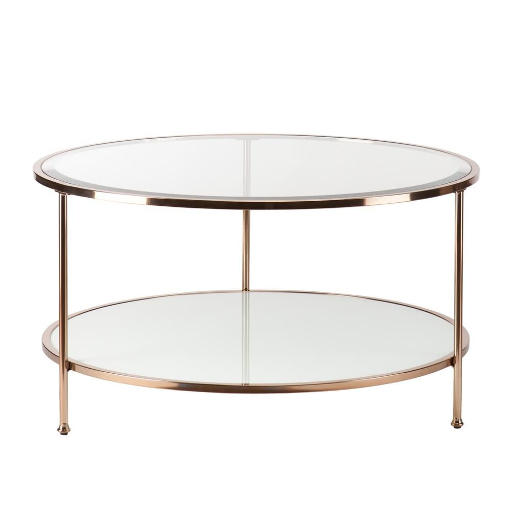 Southern Enterprises Cherlize 34 In Metallic Gold White Medium Oval Glass Coffee Table With Shelf Hd748290 The Home Depot Round Gold Coffee Table Gold Coffee Table Round Coffee Table [ 1000 x 1000 Pixel ]