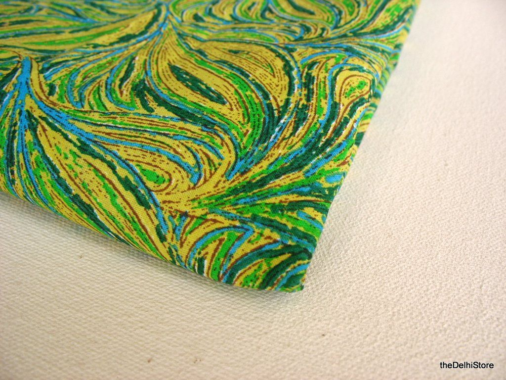 100 % Cotton Fabric in Yellow Green Color by Yard (12.00 USD) by theDelhiStore