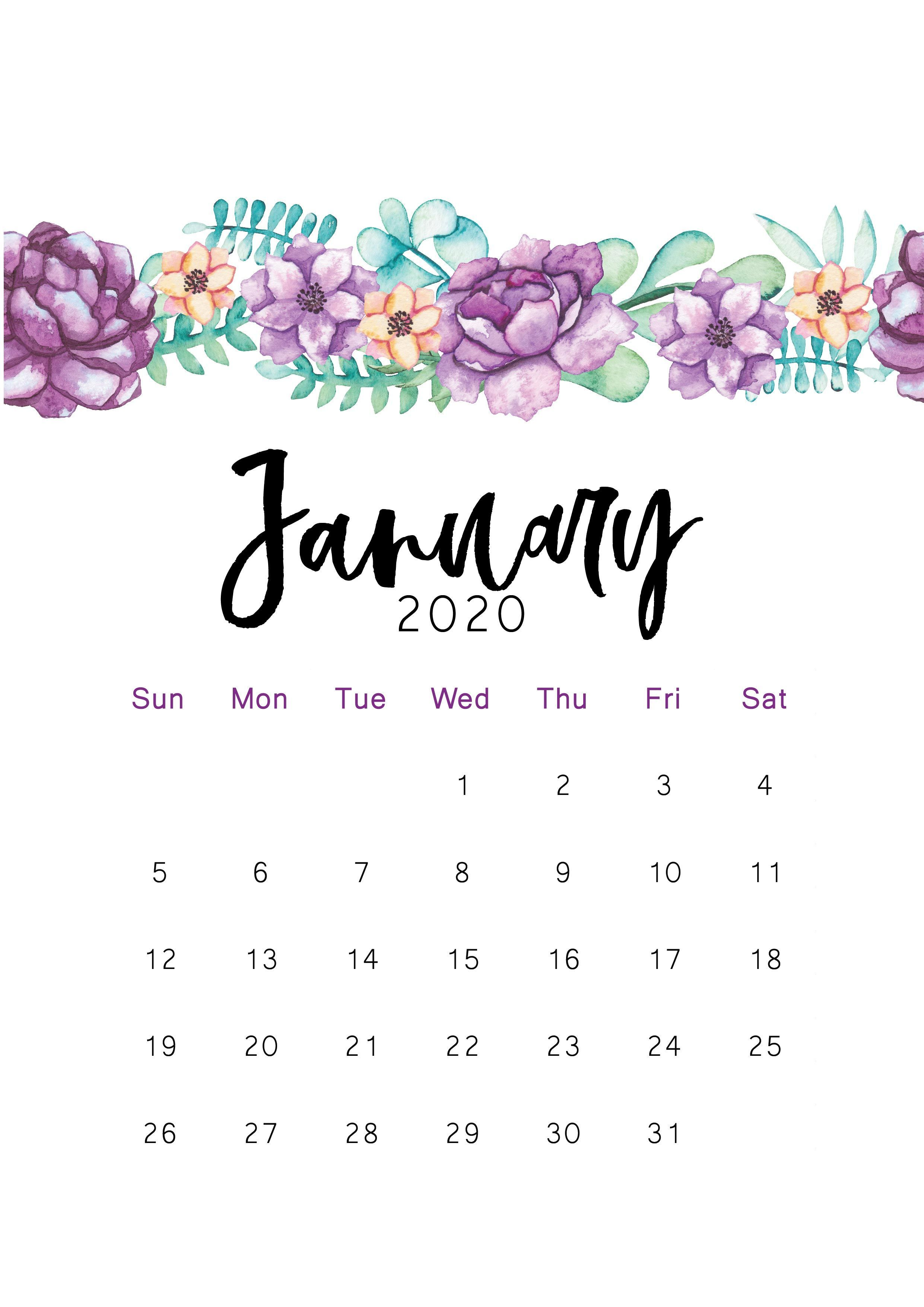2020 Printable Calendar Januarywallpaper Di 2020 Kartu Kertas