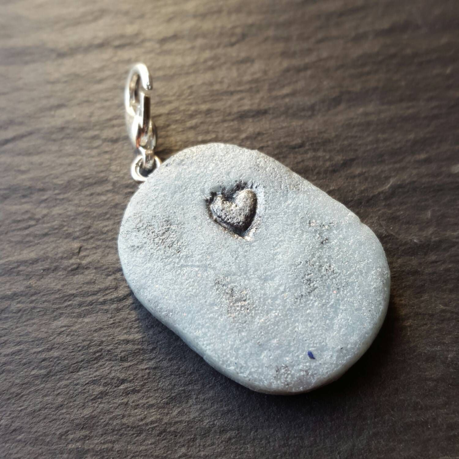 Love charm, polymer clay charm, blue and silver charm, key chain or bag accessory, valentines gift, girlfriend, boyfriend, best friend by chapelviewcrafts on Etsy