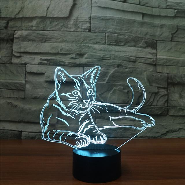 Sitting Cat 3d Night Light 7 Colors Led Animal Lamp 3d Night Light 3d Illusions