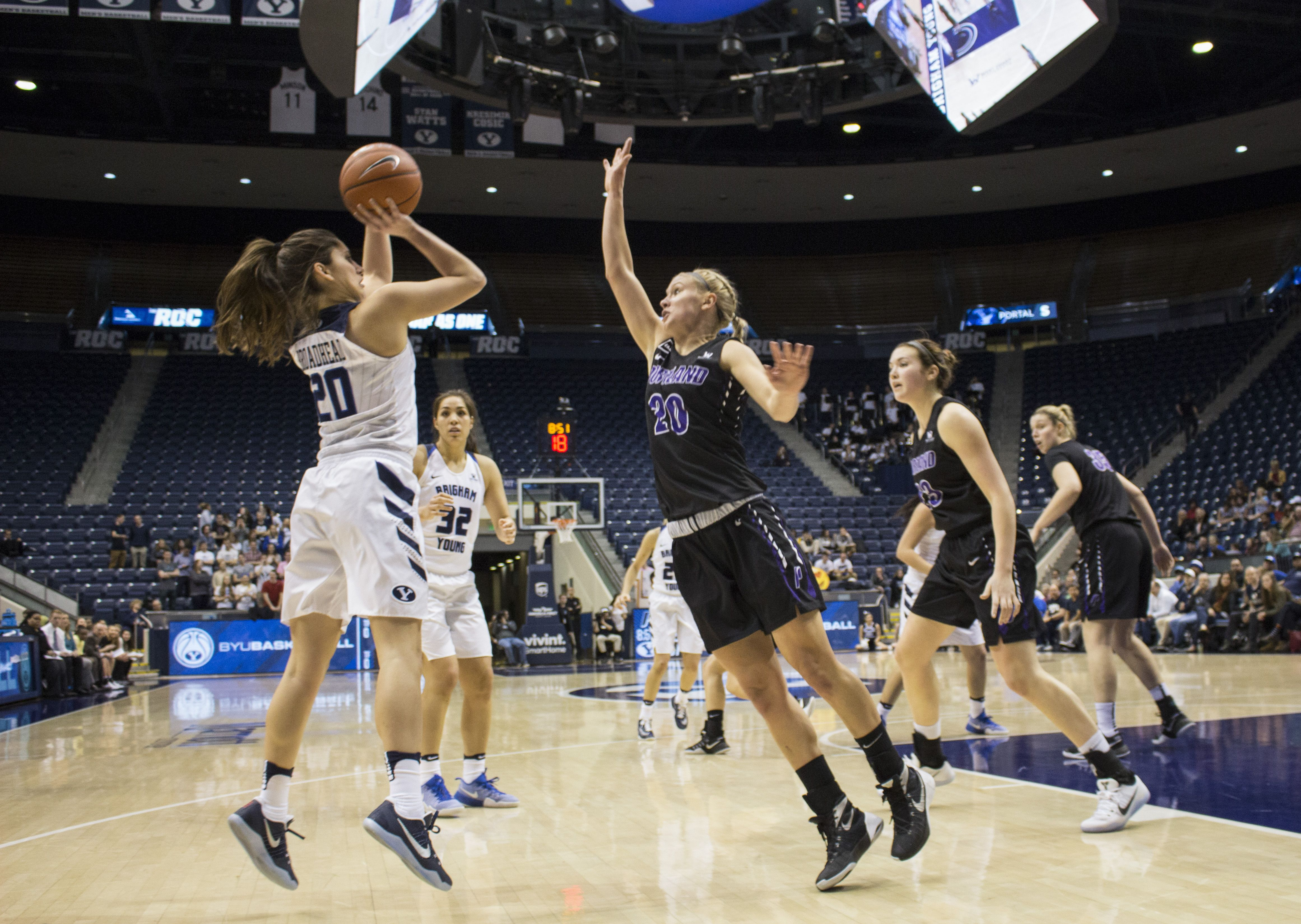 Two Double Doubles Lead Byu Women S Basketball To Victory Against Portland The Daily Universe Basketball Girls Womens Basketball Basketball