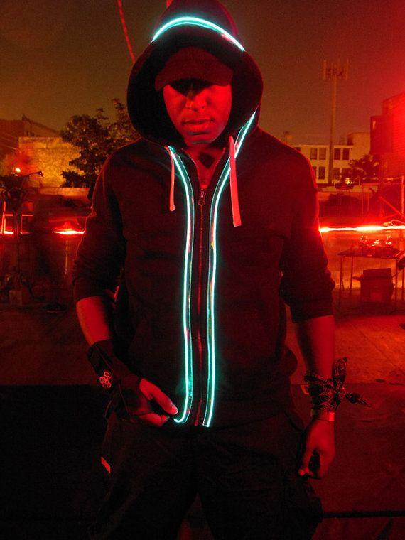 TRIXY XCHANGE - Womens Light Up Hoodie Burning Man Hoodie Glow in ...