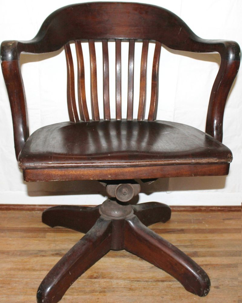 Genial Vintage Industrial Age Art Deco Solid Wood Bankers Swivel Office Arm Chair  1920s #ArtDeco