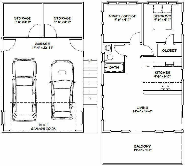 20x32 House -- 2 Bedroom -- 808 Sqft -- PDF FloorPlan