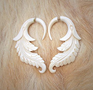 Carved Bone Earrings Archaic Dreamyness