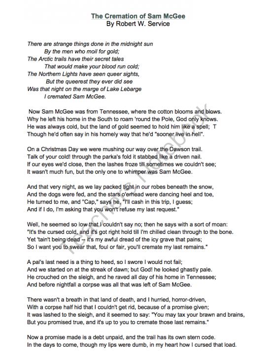 The cremation of sam mcgee lyrics